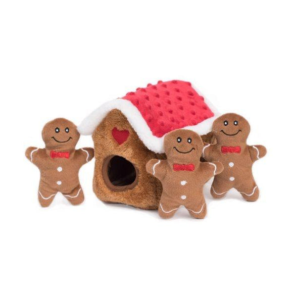 ZippyPaws Holiday Zippy Burrow Gingerbread House Hide and Seek Puzzle Dog Toy