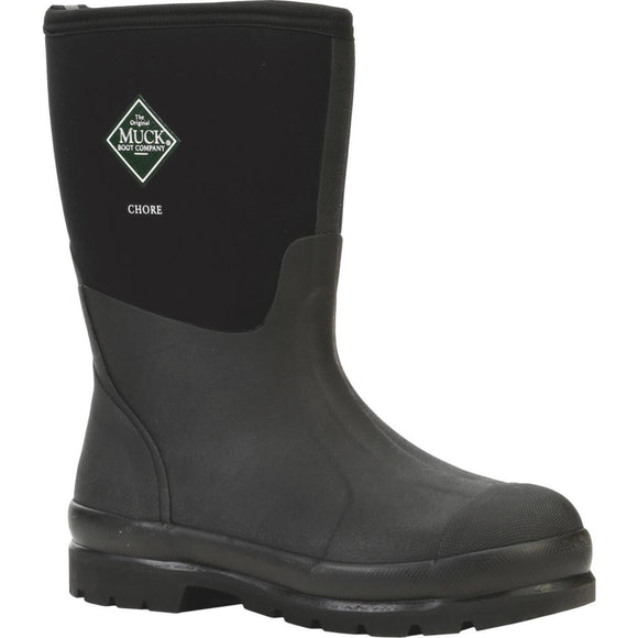 Muck Chore Mid Men's Size 8 Black Rubber Work Boot