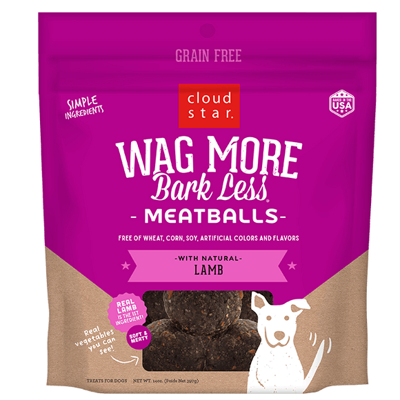 Cloud Star Wag More Bark Less Meatballs: Lamb Dog Treats