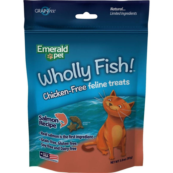 EMERALD PET WHOLLY FISH CHICKEN-FREE CAT TREATS