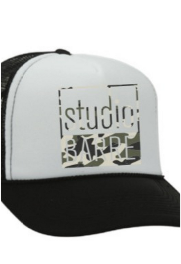 Studio Barre Camo Logo Trucker Hat