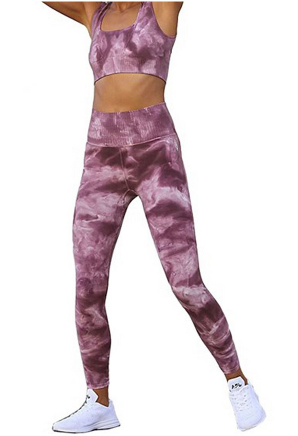 Free People Good Karma Tie Dye Legging Brushed Maroon