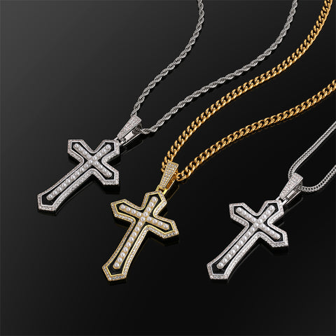 cross pendant with small pearl