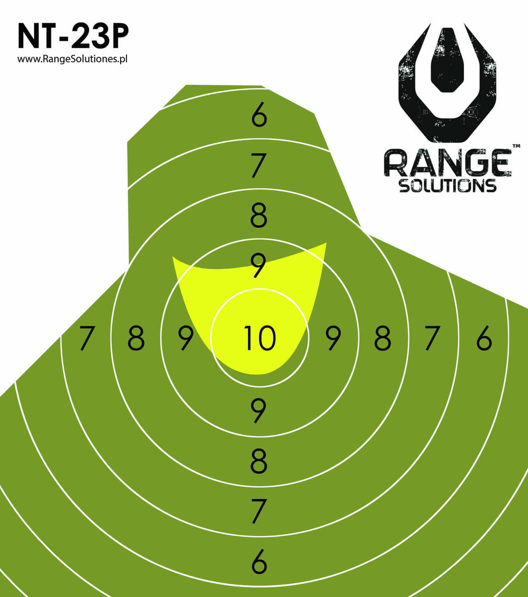 Range Solutions NT-23P-MINI targets, military figure green targets with yellow centre , mini version