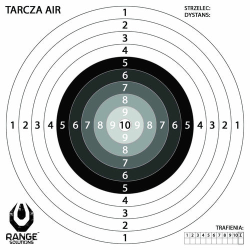 Range Solutions AIR targets, air rifle 140mm by 140mm paper targets, gradient centre