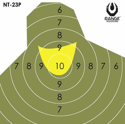 Range Solutions NT-23P targets, military figure green targets with yellow centre