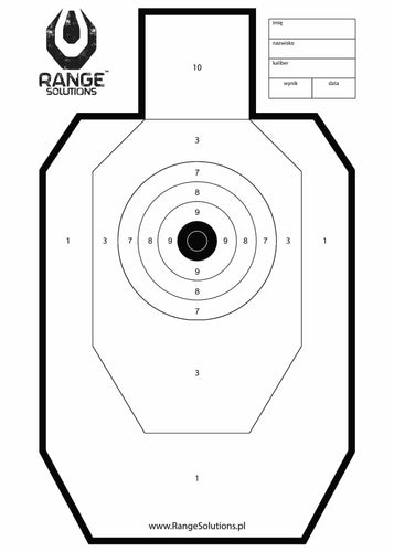 Range Solutions RANGE targets, IDPA style shaped target with precision shooting centre, ideal target for range