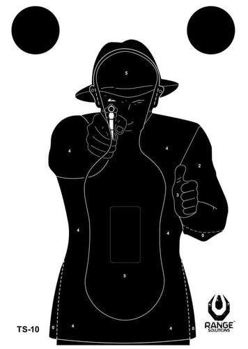 Range Solutions TS-10 Frenchman targets, black figure with a gun on white background