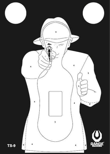 Range Solutions TS-9 Frenchman targets, white human with the gun on black