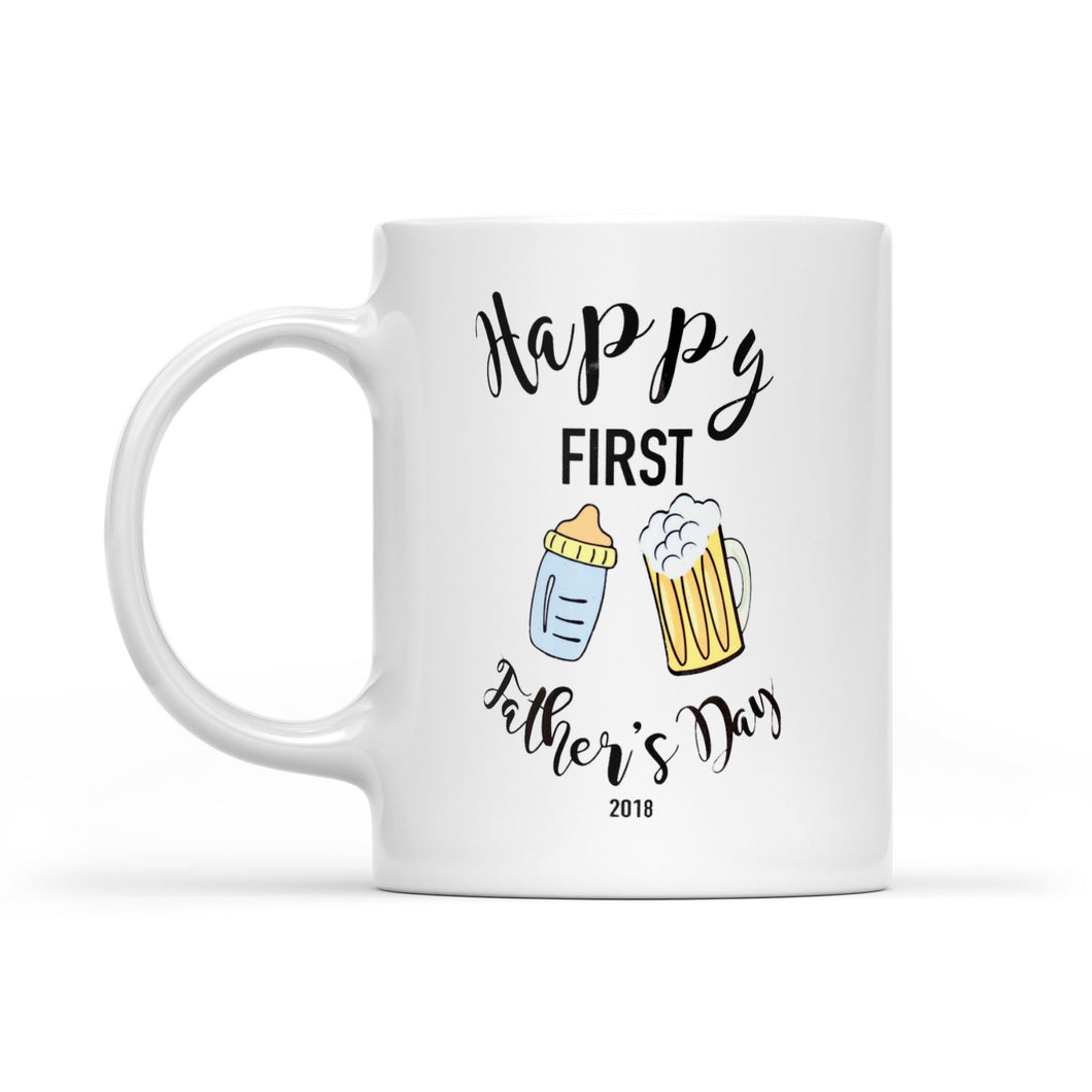 Personalized Bottle and Beer Mug First Fathers Day Gift 2021