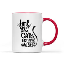 Load image into Gallery viewer, Time Spent With Cats Is Never Wasted Accent Mug, 2021 Trending Mother's Day Accent Mug