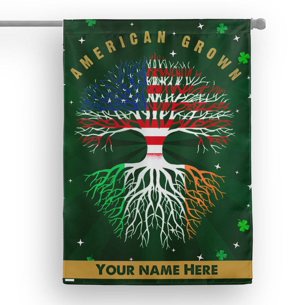 Customize American Grown St Patrick's Day Garden Flag