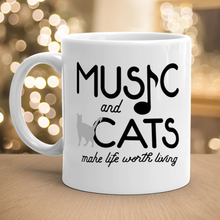 Load image into Gallery viewer, Music And Cats Ceramic White Mug, Cat Lovers Coffee Cup