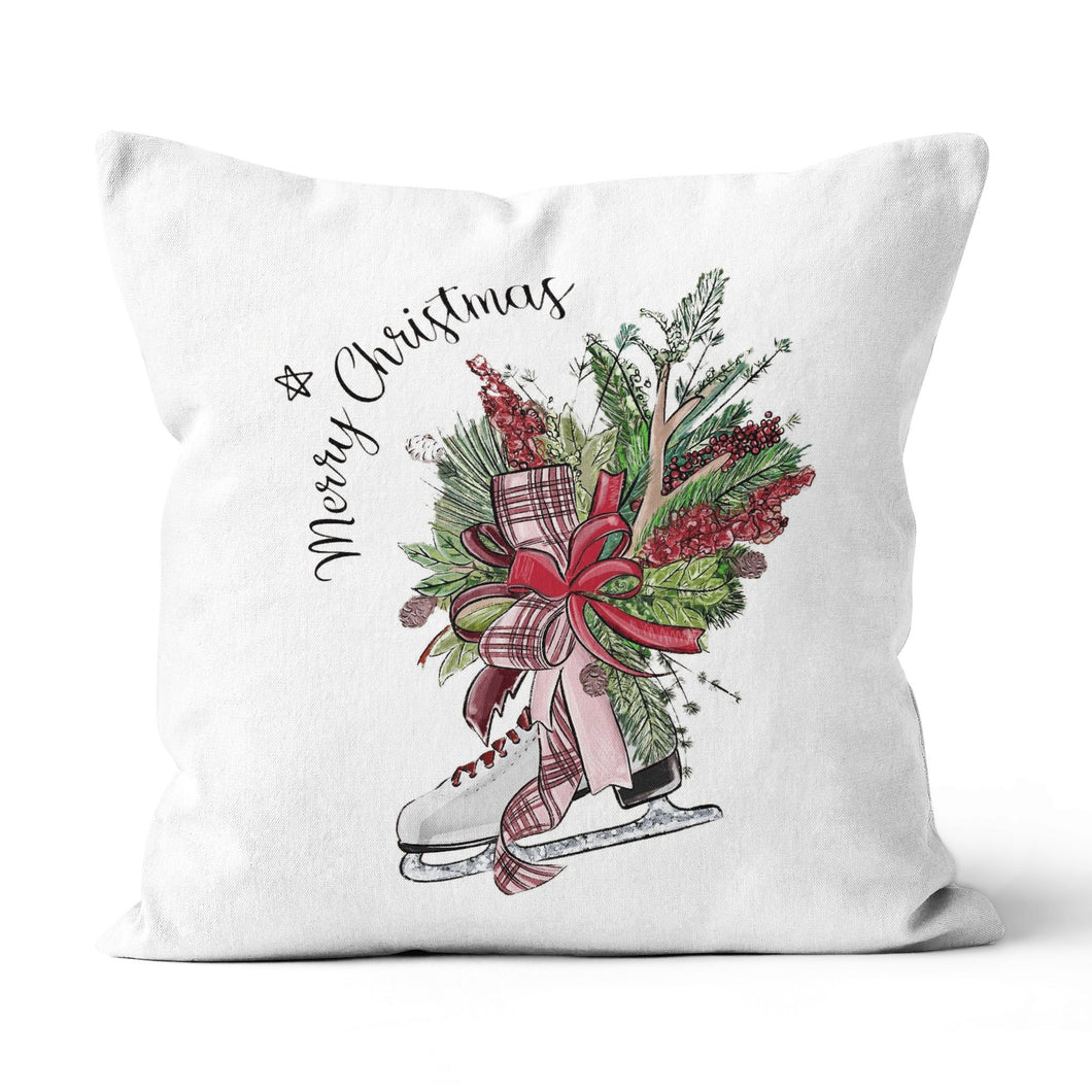 Merry Christmas Ice Skates - Canvas Pillow