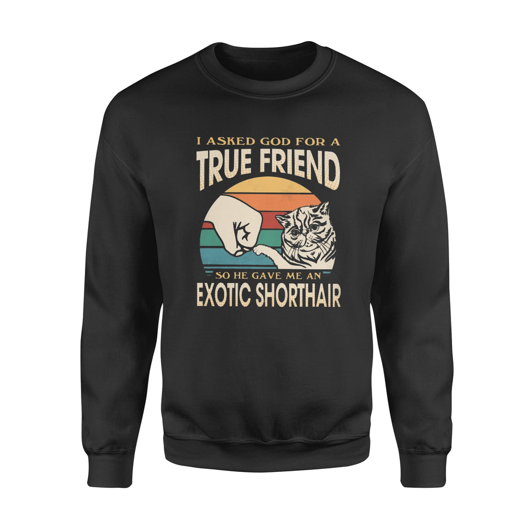 I asked God for a True Friend so he gave me an Exotic Shorthair  - Standard Crew Neck Sweatshirt