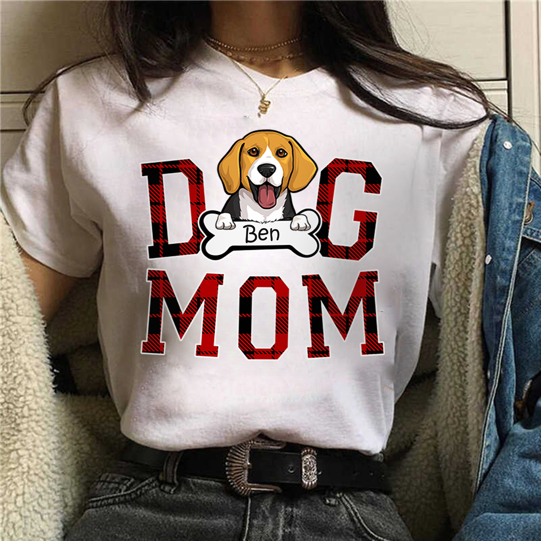 Customized/Personalized Buffalo Dog Mom T-Shirt, 2021 Trending Fashion Mother's Day & National Pet Day Tee Shirt