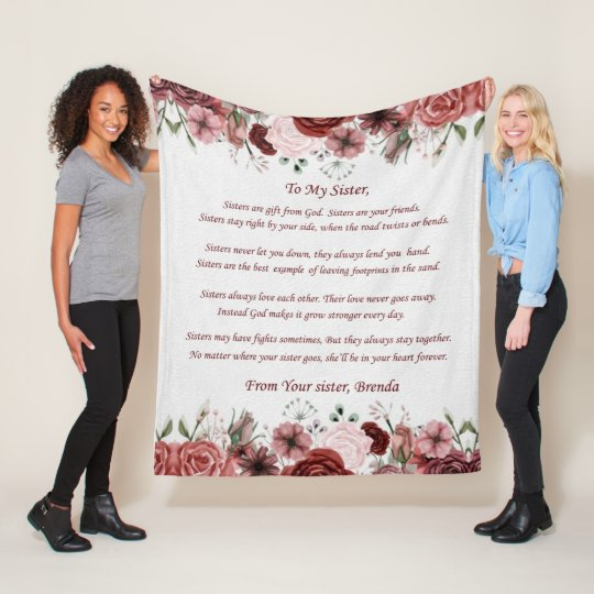 Customized Blanket To My Sister Made In USA - Sisters Are Gifts From God. Sisters Are Your Friends