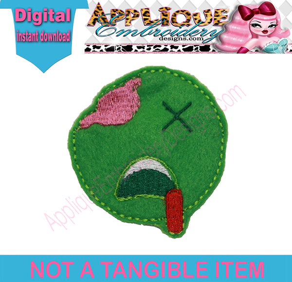 Emoji Zombie Felt embroidery machine file ScrumpStitches