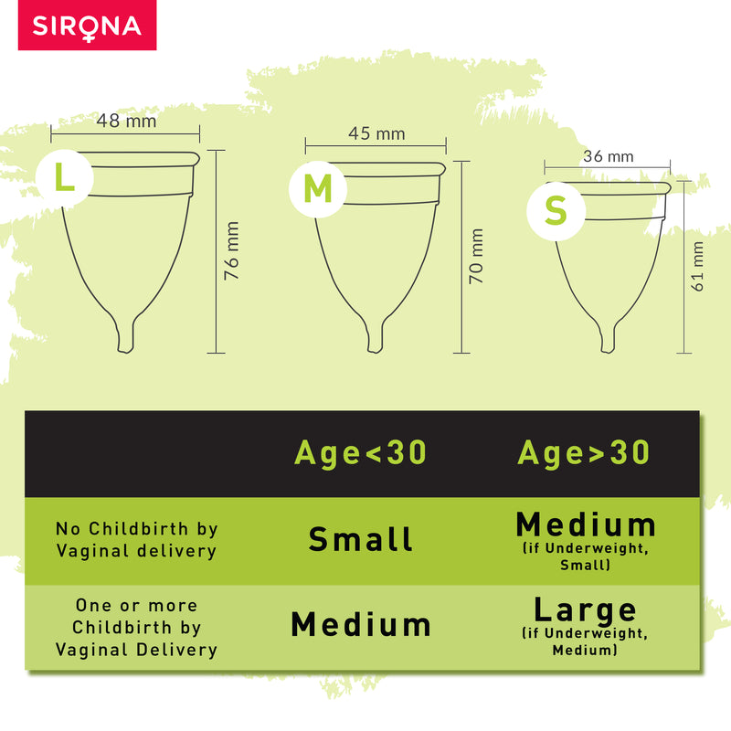 Sirona Reusable Menstrual Cup with Pouch - Small & Medium Combo