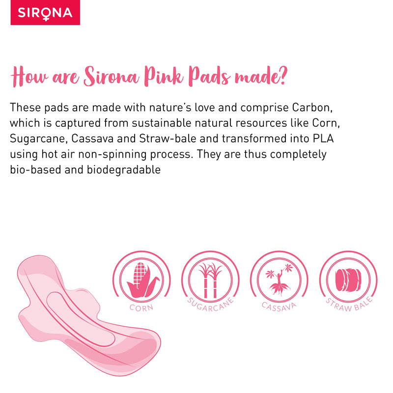 Sirona Natural Biodegradable Super Soft Pink Sanitary Pads - 10 Pieces, Large (L) - Pee Buddy