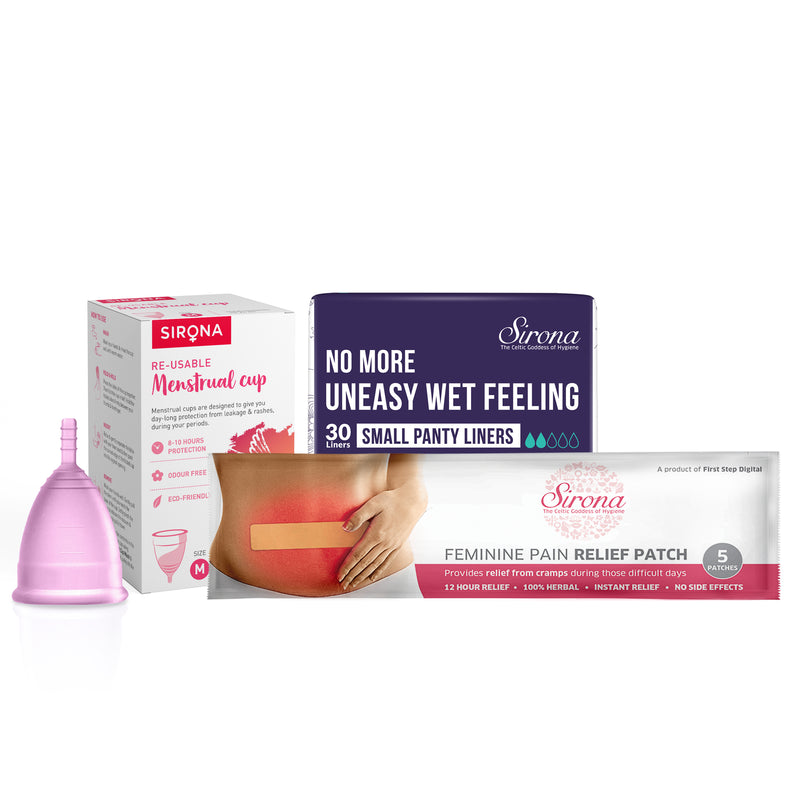 Menstrual Cup with Pain Patch & Small Panty Liners