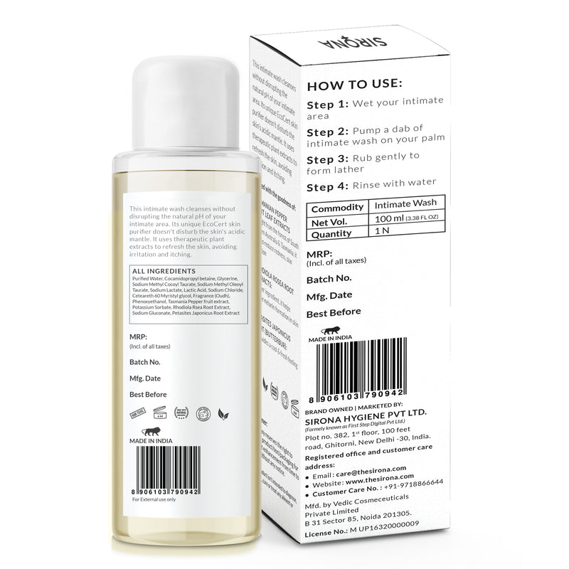 Sirona Natural pH Balanced Intimate Wash