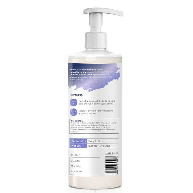 Sirona Natural Blueberry Body Lotion with Cocoa Butter, Vitamin E and Olive Oil - 500ml