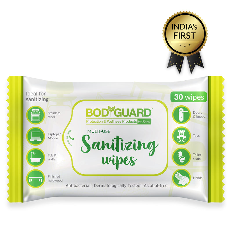 BodyGuard Anti Bacterial Sanitizing Wipes, Alcohol-Free - 30 Wipes