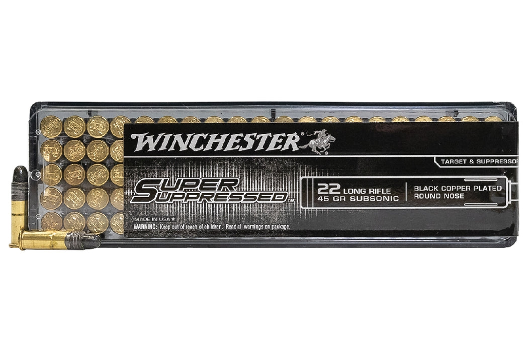 WINCHESTER RIMFIRE 22LR SUPER SUPPRESSED 45 GR LRN 50 PK
