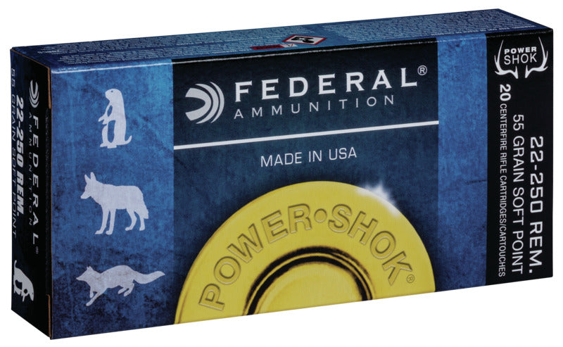 FEDERAL CENTERFIRE 22-250 REM 55 GR SOFT POINT 20 PK