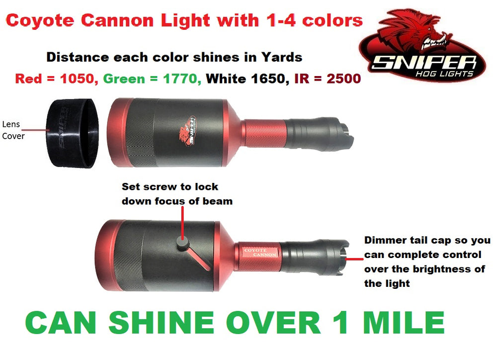 SNIPER HOG LIGHT COYOTE CANNON KIT 4 COLOUR HUNTERS PKG