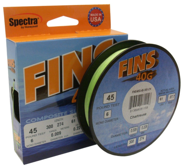 FINS 40G BRAID 150 YARDS CHARTREUSE (CLEARANCE PRICE) WAS $54.95