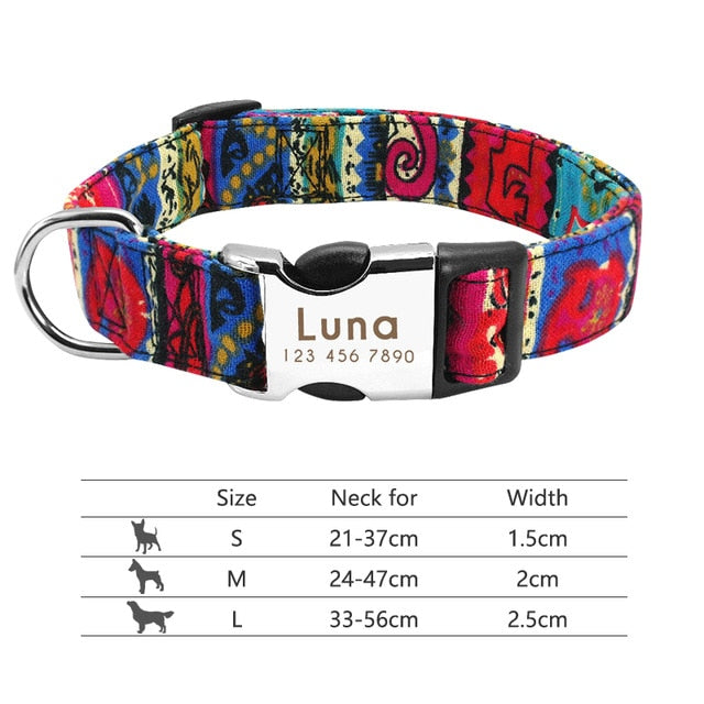 Nylon Dog Collar Personalized Pet Collar