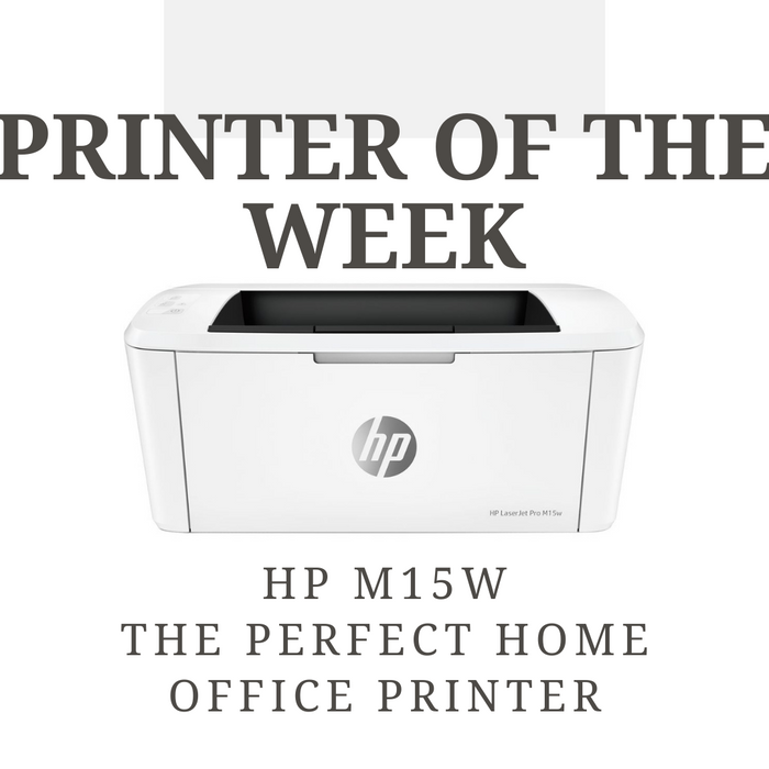 Image of the HP M15W printer with text 'printer of the week, HP M15w the perfect home office printer'