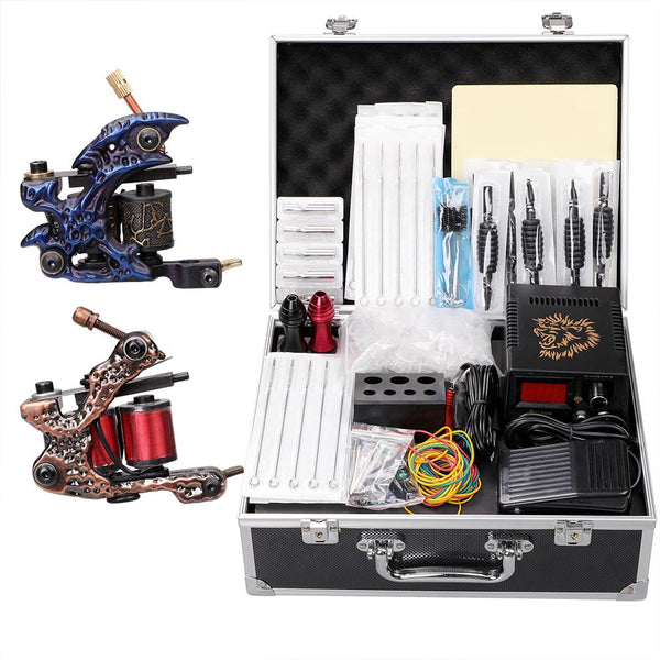 Complete Tattoo Kit 2 Pro Machine Guns Inks Power Supply Foot Pedal Needles Grips Tips Case - Hawink