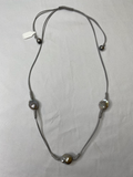 Escape From Paris Pearl And Leather Necklace Style Gray