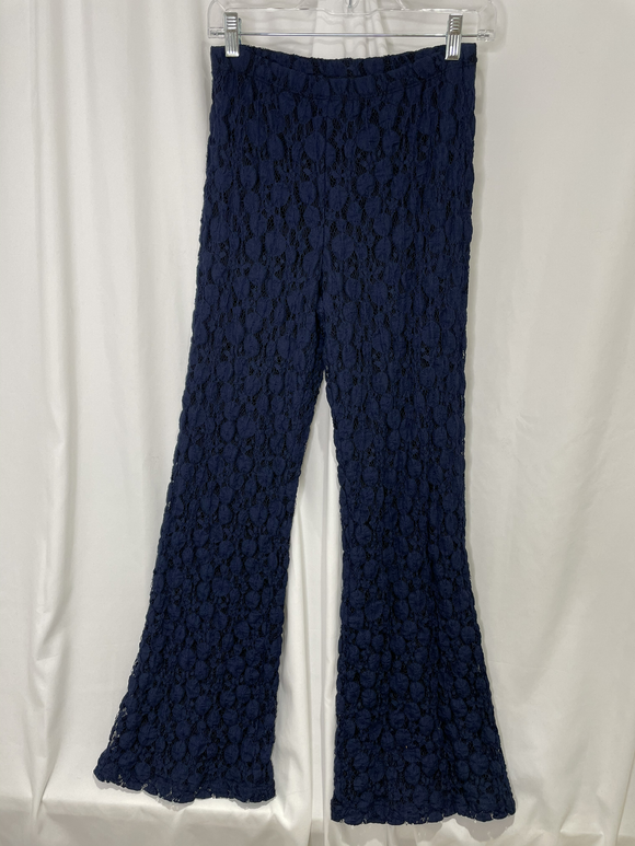 Andria Lieu Navy Dots Lace Wide Leg Pants