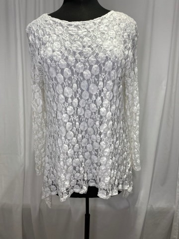 Andria Lieu White Dots Lace Betsy Top