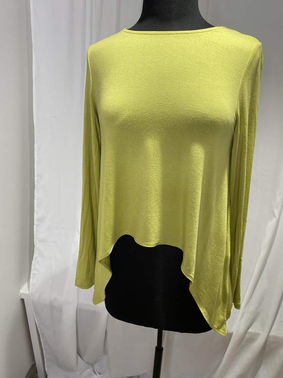 Ever Sassy Chartreuse Asymmetrical Top
