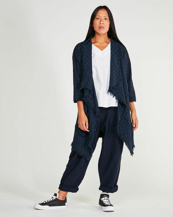 Navy Print Frayed Cotton Open Long Cardigan