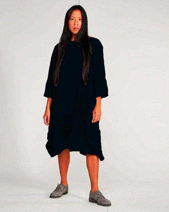 Navy Boatneck Linen Blend Long-Sleeve Dress