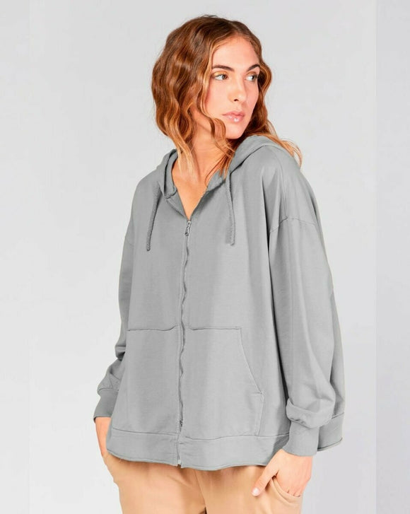 Gray Sweatshirt Zip Up Hoody