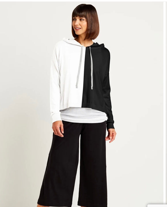 Two Tone Pima Cotton Sweater Hoodie