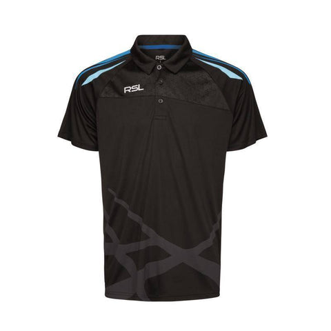RSL Golf Mens Badminton Polo Shirt (Black)