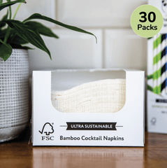 Bamboo Cocktail Napkins Bulk Box | 30 Packs - The Cheeky Panda UK