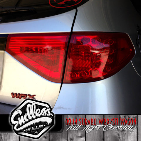 08 -14 Subaru WRX STI Hatchback Tail Light Overlays Solid (Red)