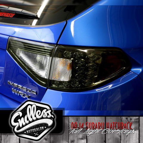 08 -14 Subaru WRX STI Hatchback Tail Light Overlays W/ Cutout (Smoke)