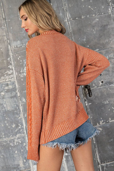 Crosshatch knit sweater