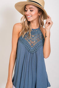 Blue lace halter top