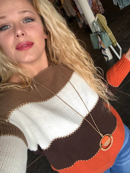 Colorblock Longsleeve Sweater in Brown/Orange